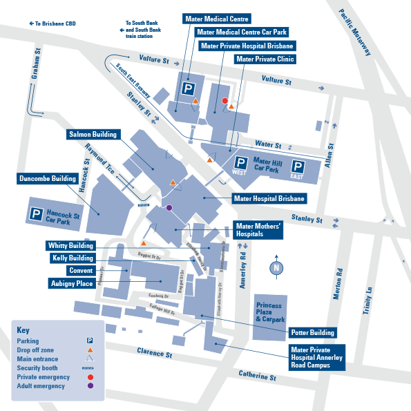 Mater Private Hospital Brisbane Map