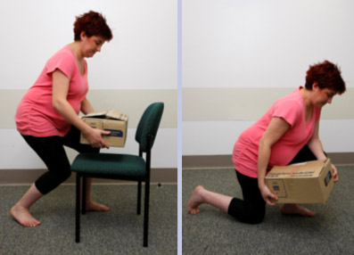 Pregnant lady lifting boxes safely